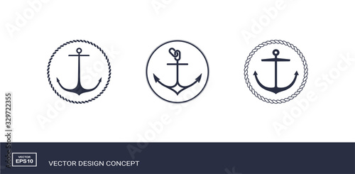 Set of anchor emblems with circular rope frame Canvas Print