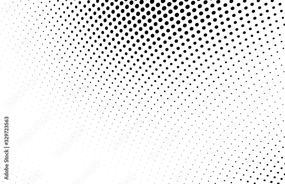Fototapeta Abstract monochrome halftone texture. Chaotic wave of black dots on a white background