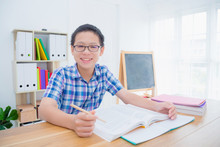 Young Asian Boy Reading Book,p...