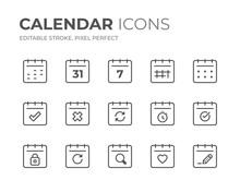 Calendar Date Line Icons Set