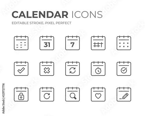 Obraz Calendar Date Line Icons Set - fototapety do salonu