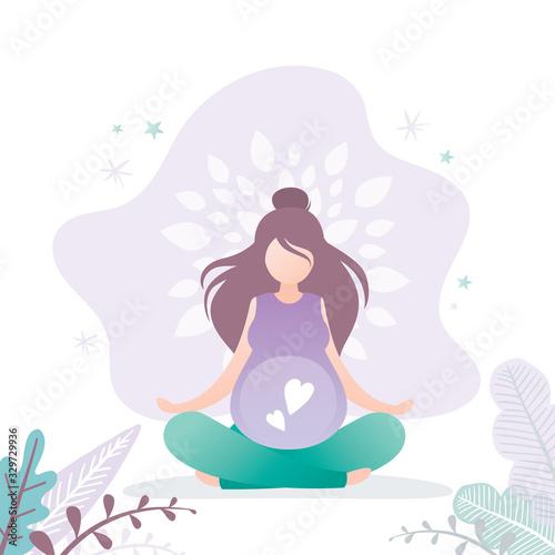 Beauty pregnant woman sitting in lotus yoga pose Wallpaper Mural