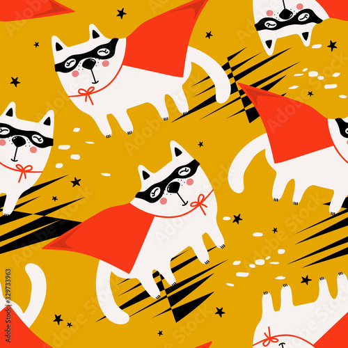Cats, hand drawn backdrop. Colorful seamless pattern with animals, stars. Decorative cute wallpaper, good for printing. Overlapping background vector. Design illustration, super cat