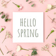 Quote Hello spring. Floral pattern on a pink background.