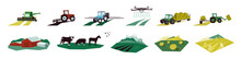 Set Of Agriculture Objects. Icons With Irrigation Tractor, Farm Animals, Combine Harvester, Drone. Vector Illustrations Of Machinery, Farming, Livestock With Cow, Hayfield, Cultivated And Plowed Land.