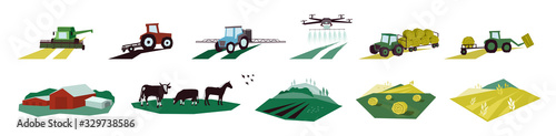 Obraz Set of agriculture objects. Icons with irrigation tractor, farm animals, combine harvester, drone. Vector illustrations of machinery, farming, livestock with cow, hayfield, cultivated and plowed land. - fototapety do salonu