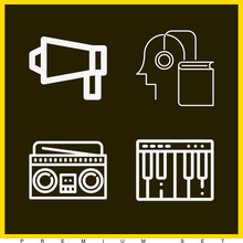 Set Of 4 Music Outline Icons