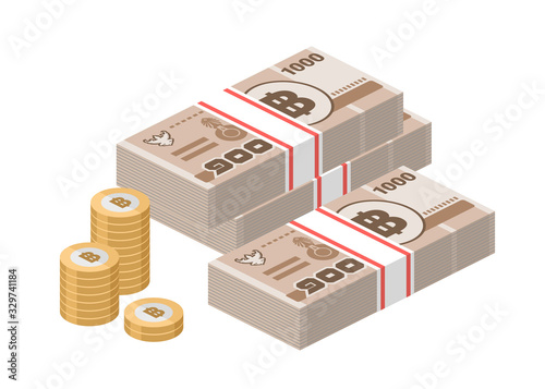 Fototapeta Isometric stacks of 1000 Thai baht banknotes and coins