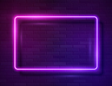 Neon Glowing Rectangle Frame F...
