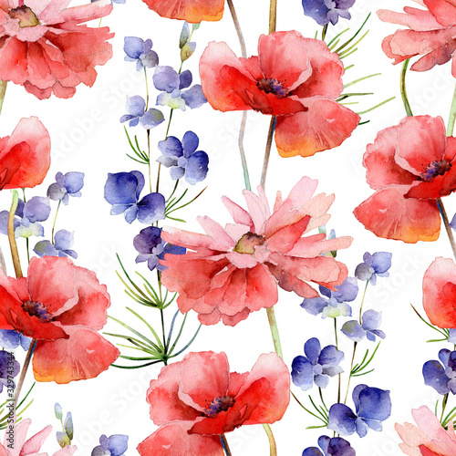 Obraz maki   watercolor-seamless-pattern-with-delphinium-flowers-and-poppies
