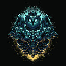 Owl & Lion Head Illustration