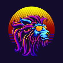 80s Lion Head Retro Illustration