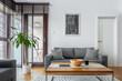 Stylish living room with big windows
