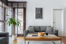 Stylish Living Room With Big W...