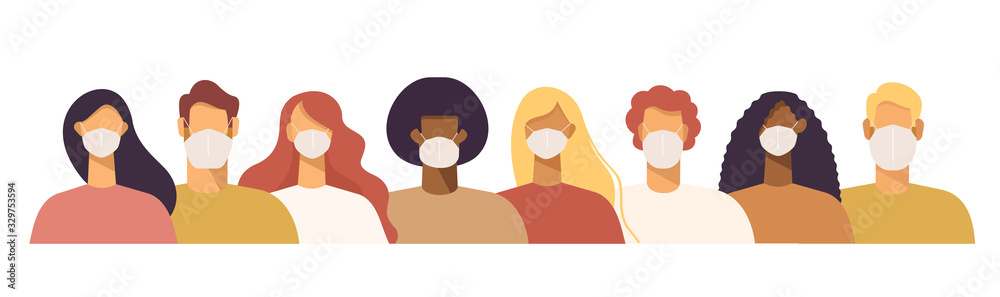 Fototapeta Set of people in protective face dust masks. Bundle of men and women wearing protection from urban air pollution, smog, vapor, pollutant gas emission and virus. Flat vector illustration