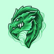 Green Dragon Head Vector Illus...