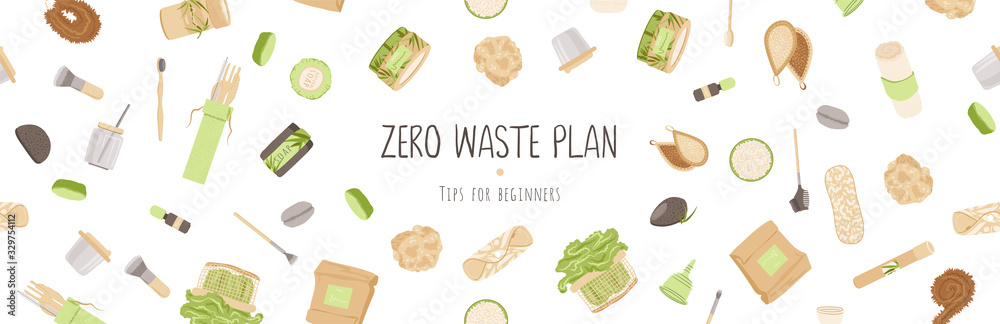 Fototapeta Zero Waste Vector Concept illustration in Minimalism Style, with Reusable and Recycle Zero Waste products - Beauty, Kitchen, personal care and hygiene for ecology friendly advertising