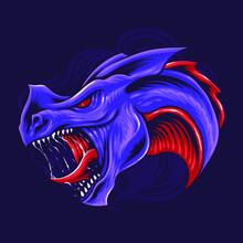 Purple Dragon Head Vector Illu...