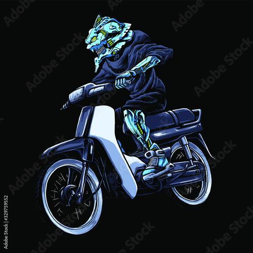 Robot riding motocycle vector illustration Wallpaper Mural