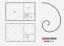 Golden Ratio Section Rule. Mathematics Formula Of Fibonacci Spiral. . Golden Section Spiral, Proportion Math Illustration.