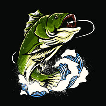 Bass Fish Art Vector Illustrat...