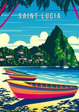 St. Lucia Island Landscape Wit...