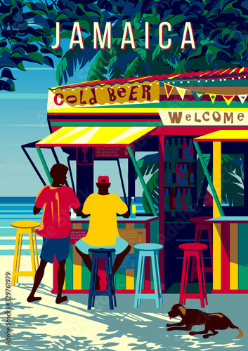 Jamaica island landscape with people in a traditional beach bar, palm trees and the sea in the background Poster Mural XXL