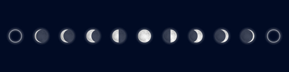 Lunar phases. Cycle from the full moon to new moon. Isolated on blue background. Vector illustration.