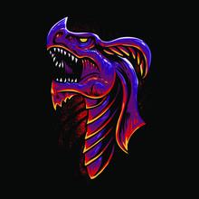 Red Dragon Head Vector Illustr...