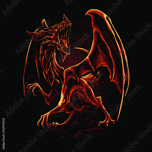 Red dragon art vector illustration Canvas