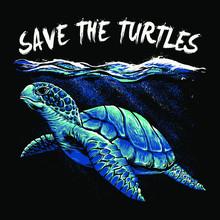 Save Ocean Turtle Art Vector Illustration