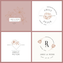 Wedding Logo, Botanical Rustic...
