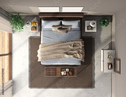 Obraz Top view of a blue and brown master bedroom - fototapety do salonu