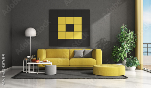 obraz dibond Black and yellow modern living room