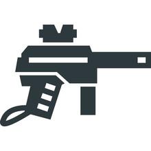 Paintball Gun Black Icon On Wh...