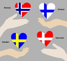Hearts Over Hands As Flags Of ...