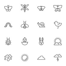 Spring, Animal Line Icons Set....