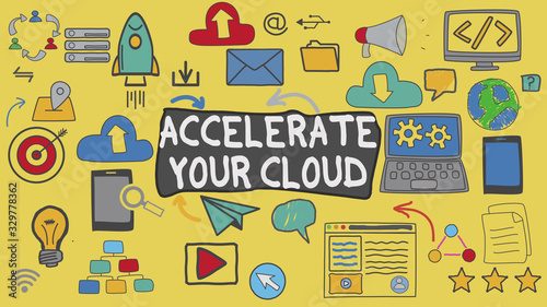 Photo Accelerate Your Cloud, Yellow Illustration Graphic Technology Concept