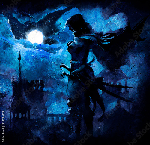 Leinwand Poster A beautiful night landscape of the city's fantasy, illuminated by the moon, with blue clouds, in the foreground stands a warrior in a hood with two sabers on his belt
