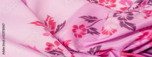 texture, background, pattern, delicate pink silk with floral print Exceptionally lightweight pure silk fabric with a delicate texture Canvas-taulu