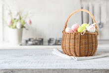 Wicker Basket With Easter Colo...