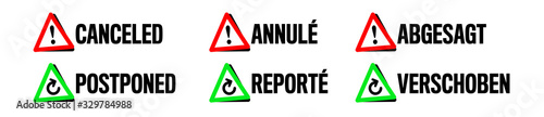 Obraz Canceled and Postponed symbol with french and german translation - fototapety do salonu
