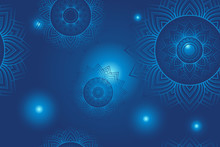 Seamless Blue Dharma Wheel In ...