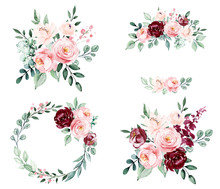 Roses, Set Watercolor Flowers Painting, Floral Vintage Bouquets Illustrations. Decoration For Poster, Greeting Card, Birthday, Wedding Design. Isolated On White Background.