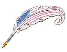 Quill American Flag Illustration
