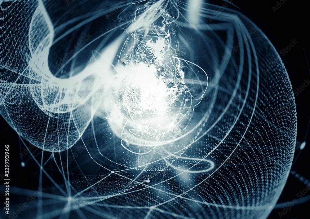 Fototapeta 青白い光線を放つ抽象的な電球