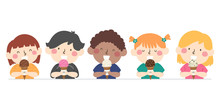 Kids Eat Ice Cream Illustration
