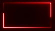 beautiful bright red light neon rectangle frame on black background, abstract digital 3d rendering 4K video