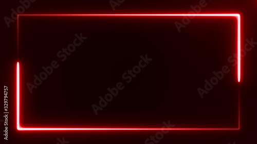 Obraz beautiful bright red light neon rectangle frame on black background, abstract digital 3d rendering 4K video - fototapety do salonu