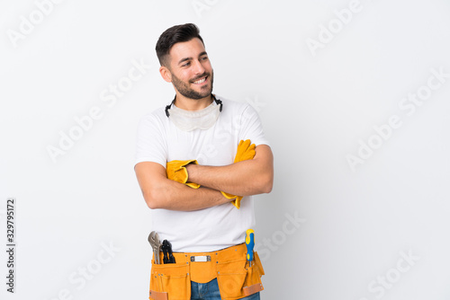 Photo Craftsmen or electrician man over isolated white background laughing